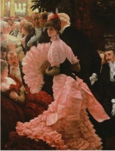 18 Le Bal, James Tissot, 1883 Le corset que l'on voit ici, n'est pas à strictement parler un corset puisque celui-ci était caché, et bien caché, mais la découpe est typique du corset dit de divorce. Nom sans rapport.