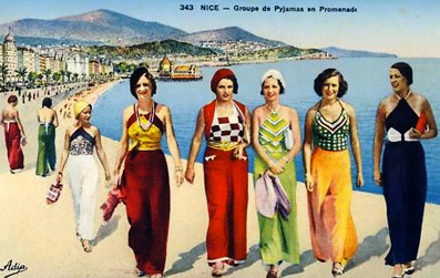 Colorized-early-30s-postcard-of-fashionable-beach-pyjama-wearing-holiday-ers-on-the-Cote-DAzure-2