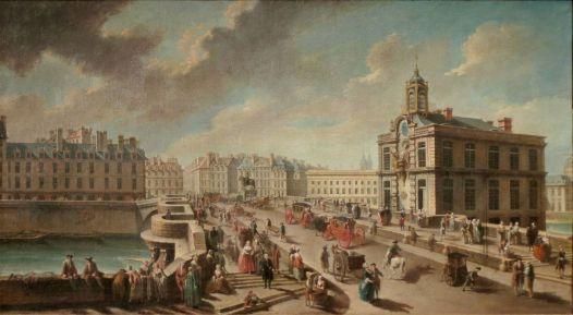 La pompe de la Samaritaine et le pont Neuf depuis le quai de la Mégisserie en 1777 tableau de Nicolas Raguenet, musée Carnavalet