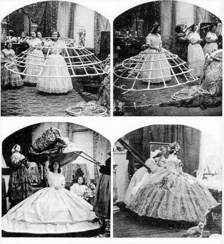 1860s Metal Hoop Crinoline Dress