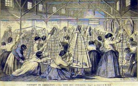 A cartoon depicting a Crinoline factory, showing the hoop frames that supported billowing skirt