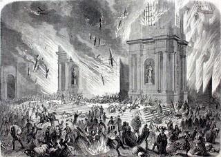 L'INCENDIE DE L'ÉGLISE DE LA COMPAGNIE DE JESÚS » LE 8 DÉCEMBRE 1863 À SANTIAGO DU CHILI. GRAVURE D'ERNEST CHARTON DE TREVILLE